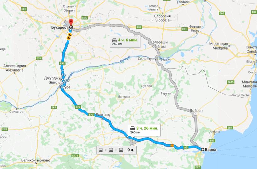 Карта маршрута Варна - Бухарест