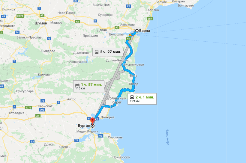 Карта маршрута Варна - Бургас
