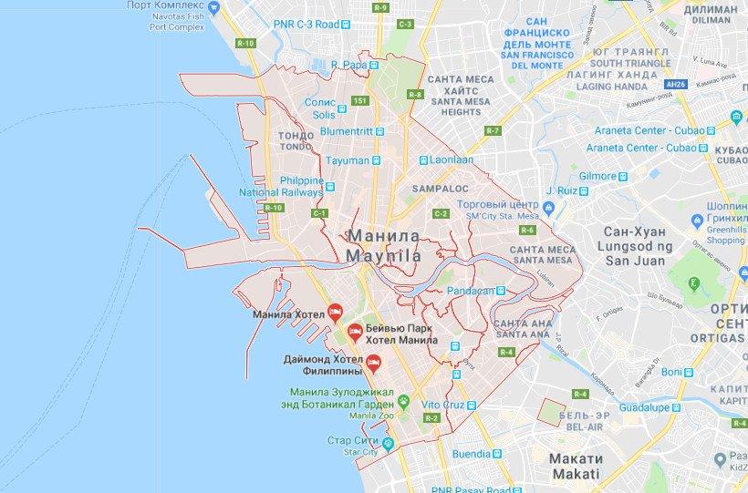 Манила на карте