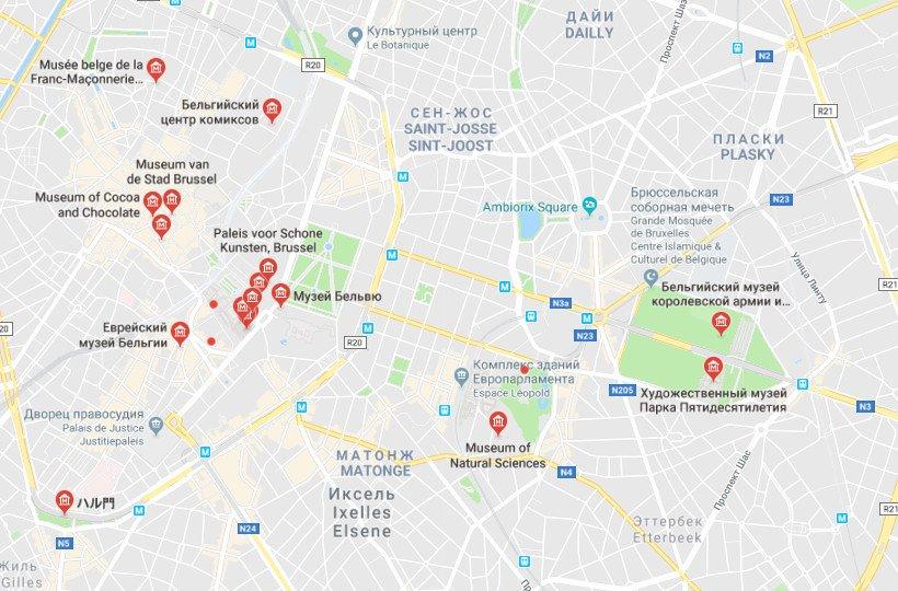 Музеи на карте Брюсселя