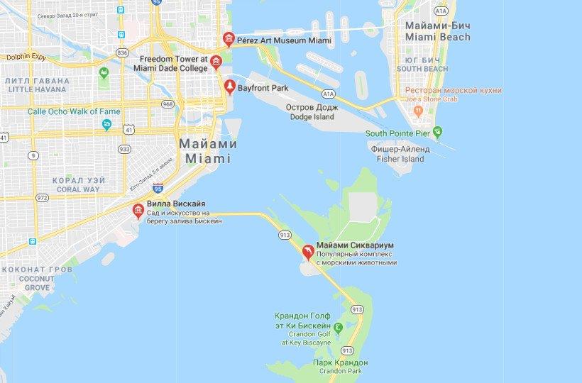 Карта достопримечательностей Майами