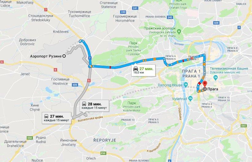 Карта маршрута аэропорт Рузине - Прага