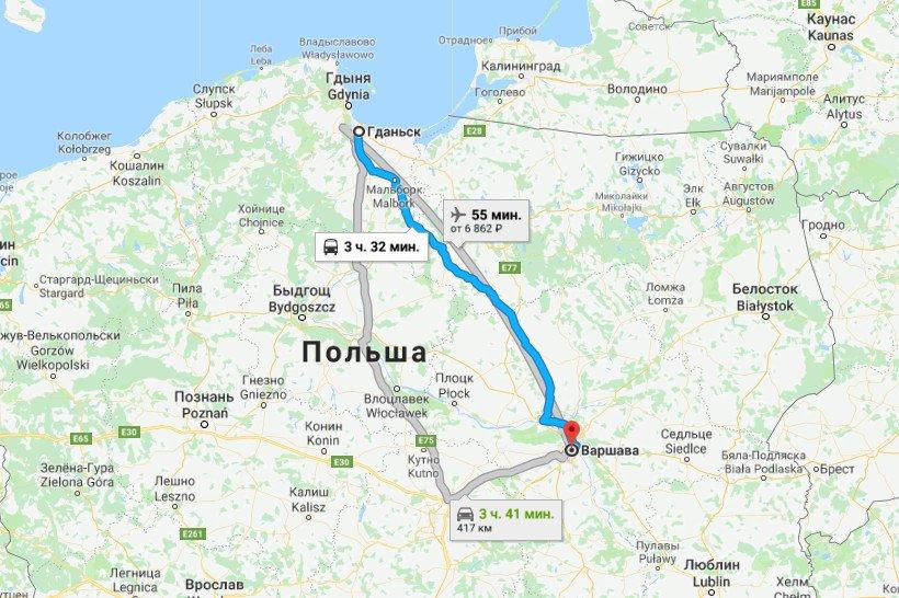 Карта маршрута Гданьск - Варшава