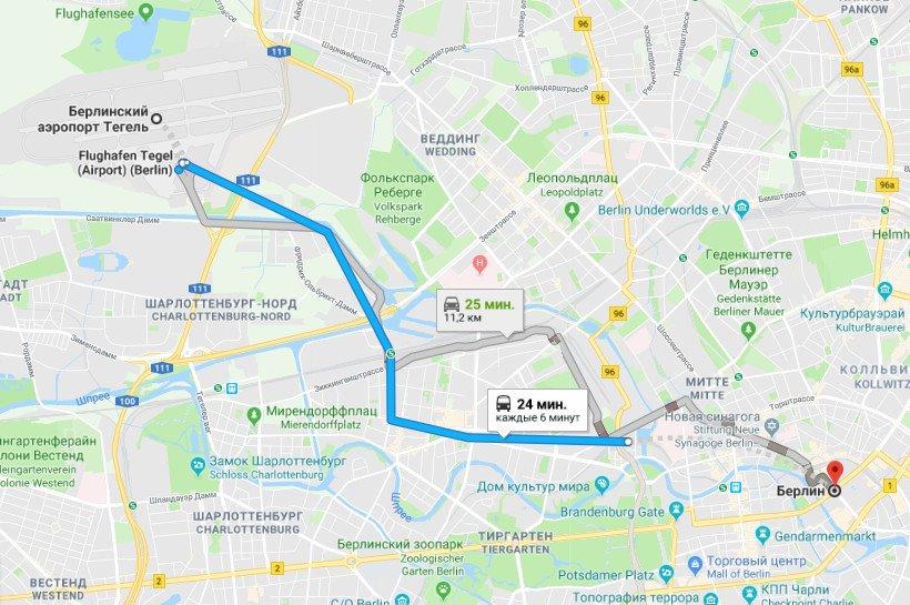 Карта маршрута Тегель - Берлин
