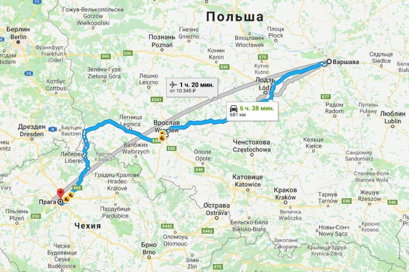 Карта маршрута Варшава - Прага