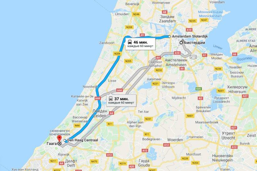 Карта маршрута Амстердам - Гаага