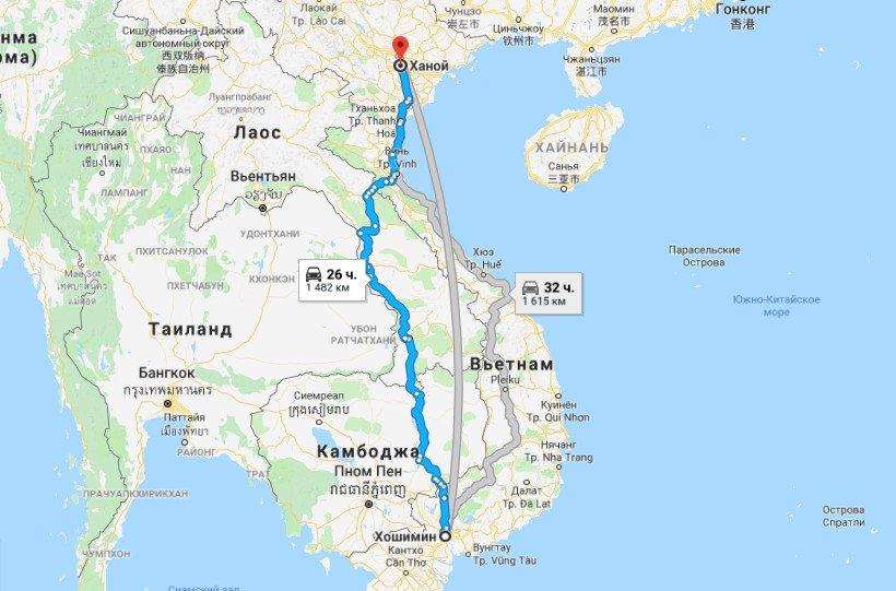 Карта маршрута Хошимин - Ханой