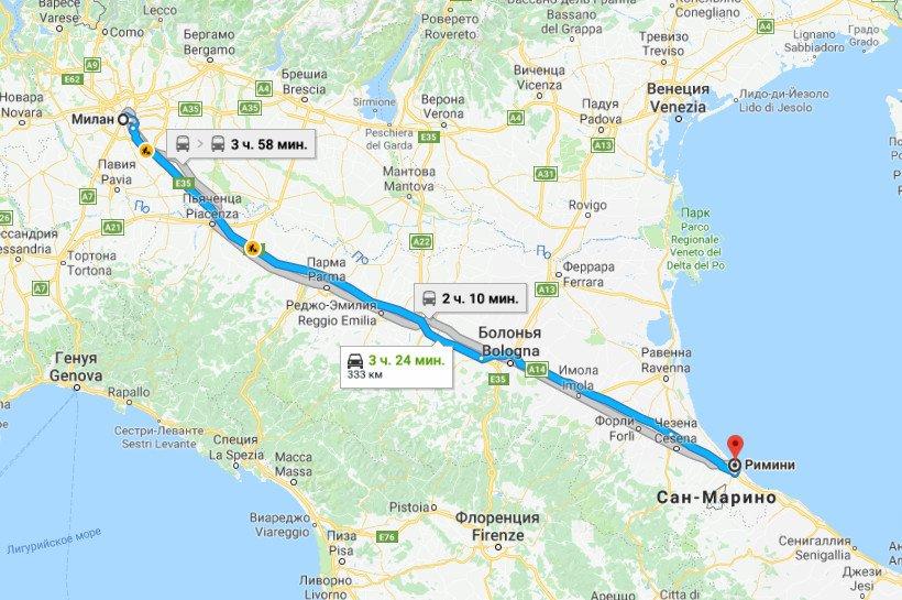 Карта маршрута Милан - Римини