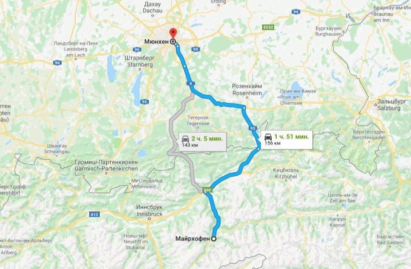 Карта маршрута Мюнхен - Майрхофен