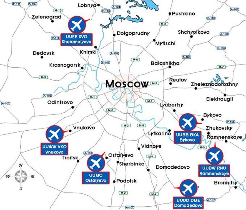 Карта аэропортов Москвы