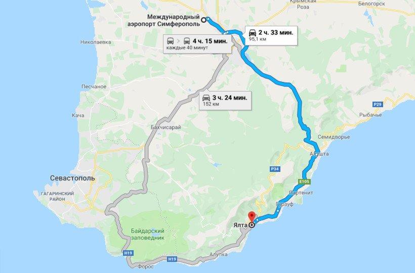 Карта маршрута аэропорт Симферополь - Ялта