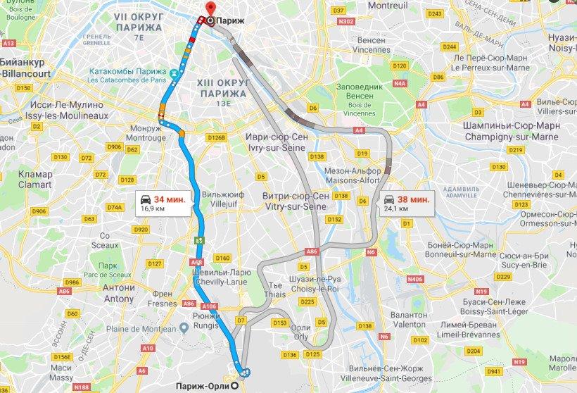 Карта маршрута Орли - Париж