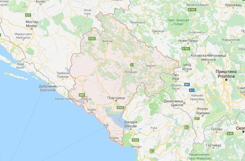 Черногория на карте