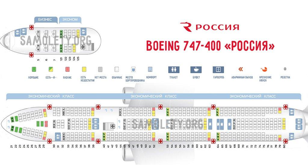 Схема салона Боинга авиакомпании Россия