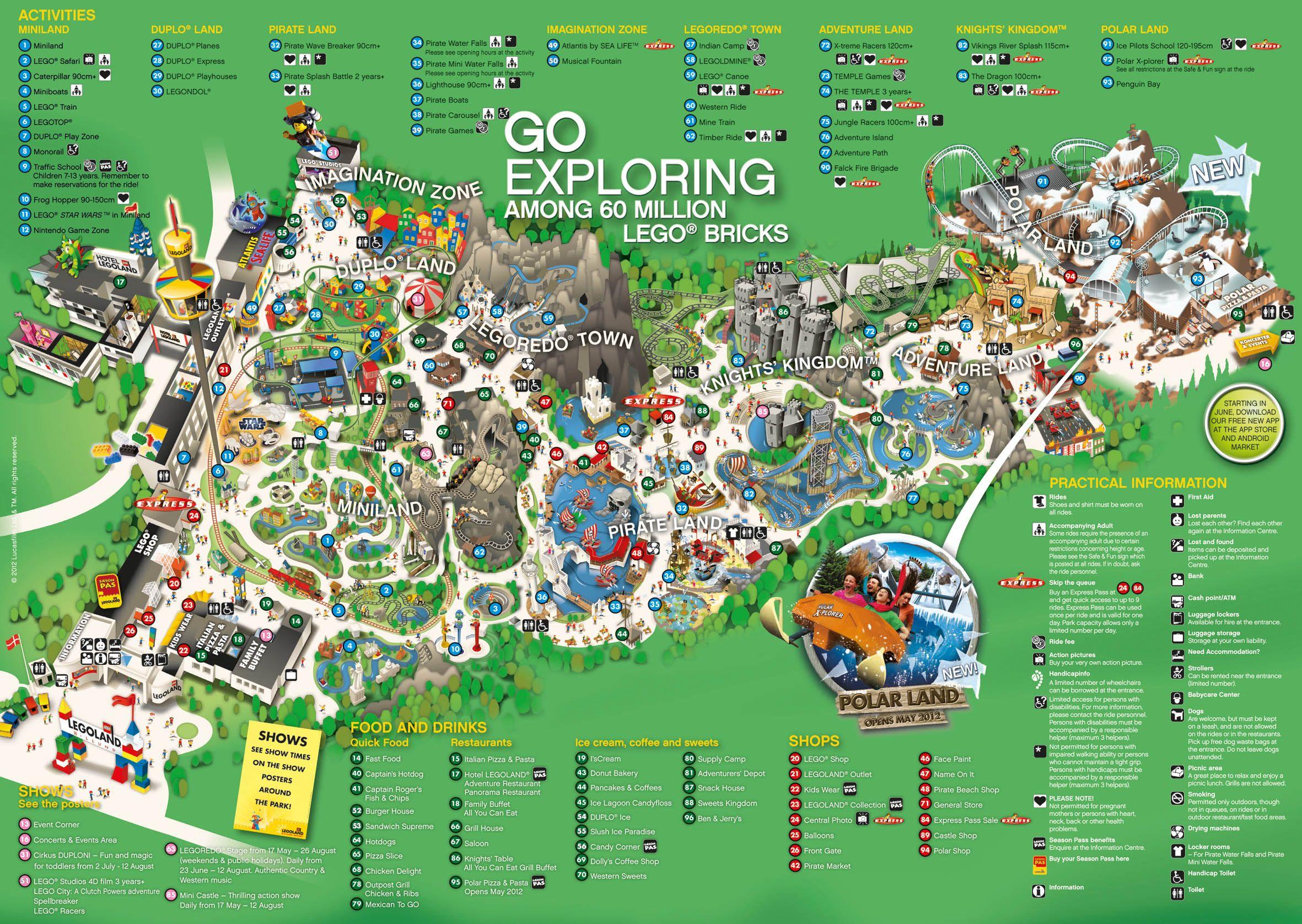 Схема (карта) парка Леголенд