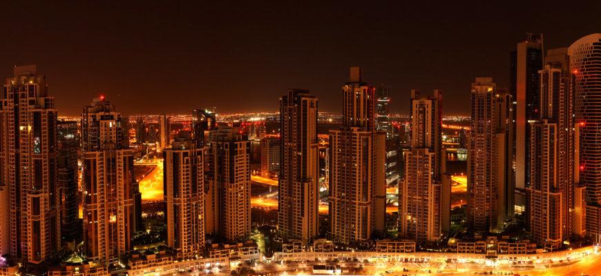 Ночная панорама Дубая