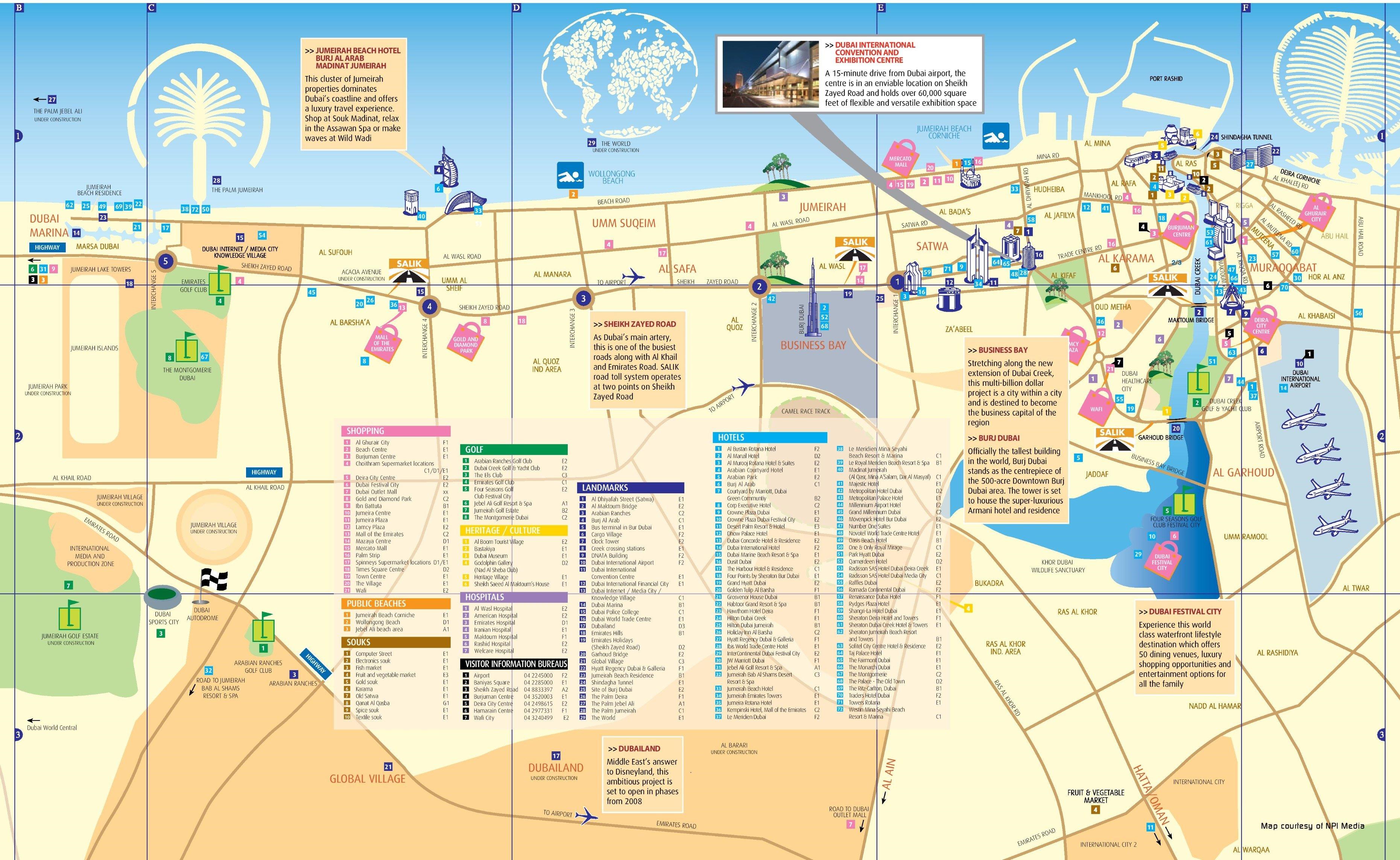 Карта Дубая со всеми достопримечательностями