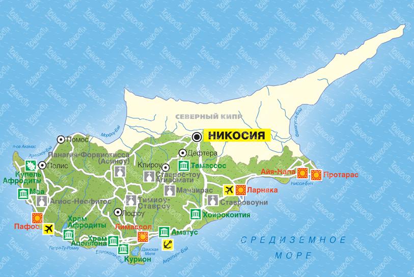 Карта курортов Кипра на русском языке