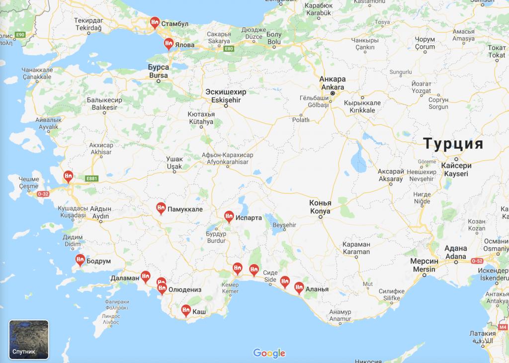 Карта курортов Турции на русском языке