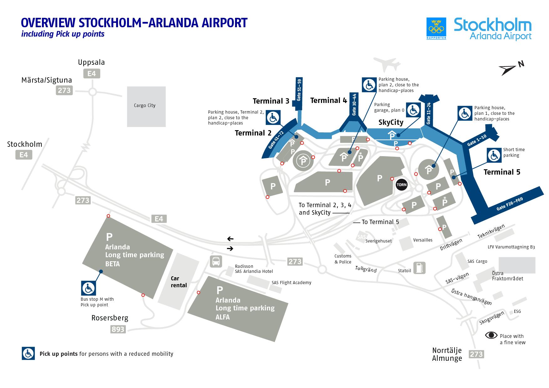 Схема аэропорта Арланда в Стокгольме