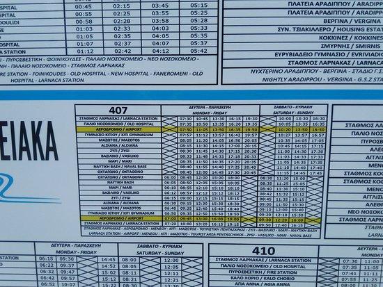 Расписание автобуса №407 в Ларнаке